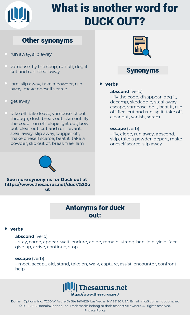 duck out, synonym duck out, another word for duck out, words like duck out, thesaurus duck out