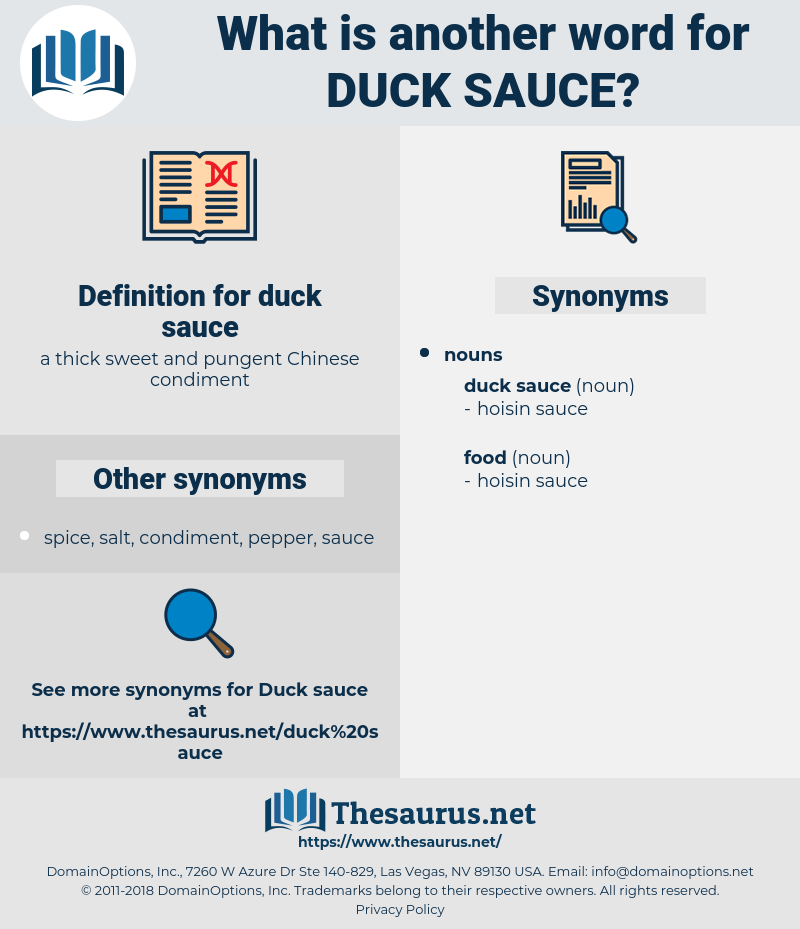 duck sauce, synonym duck sauce, another word for duck sauce, words like duck sauce, thesaurus duck sauce