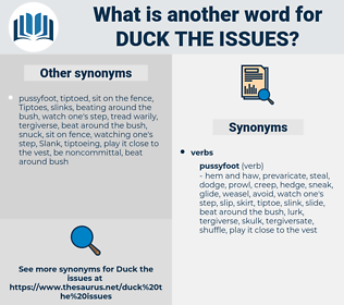 duck the issues, synonym duck the issues, another word for duck the issues, words like duck the issues, thesaurus duck the issues