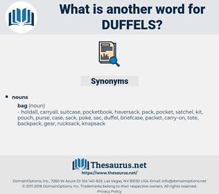 duffels, synonym duffels, another word for duffels, words like duffels, thesaurus duffels