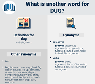 dug, synonym dug, another word for dug, words like dug, thesaurus dug