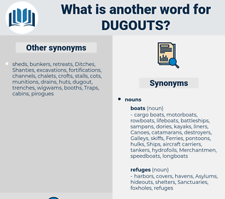 dugouts, synonym dugouts, another word for dugouts, words like dugouts, thesaurus dugouts