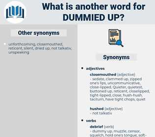 dummied up, synonym dummied up, another word for dummied up, words like dummied up, thesaurus dummied up