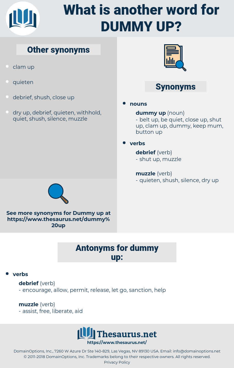 dummy up, synonym dummy up, another word for dummy up, words like dummy up, thesaurus dummy up