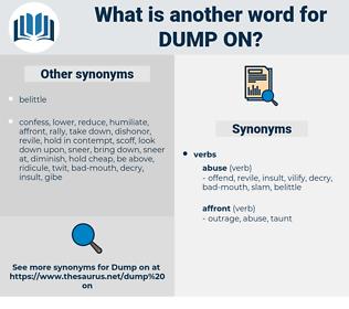 dump on, synonym dump on, another word for dump on, words like dump on, thesaurus dump on