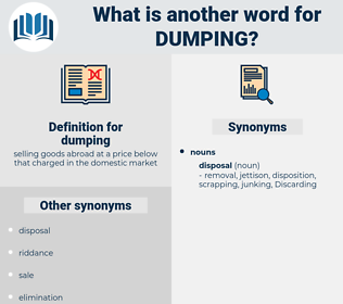 dumping, synonym dumping, another word for dumping, words like dumping, thesaurus dumping