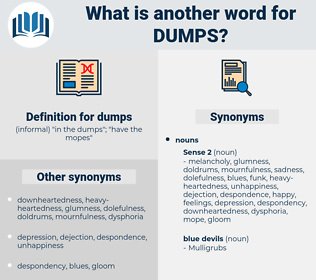 dumps, synonym dumps, another word for dumps, words like dumps, thesaurus dumps