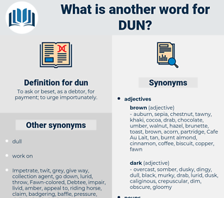 dun, synonym dun, another word for dun, words like dun, thesaurus dun