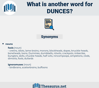 dunces, synonym dunces, another word for dunces, words like dunces, thesaurus dunces