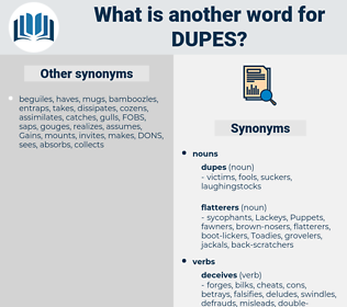dupes, synonym dupes, another word for dupes, words like dupes, thesaurus dupes