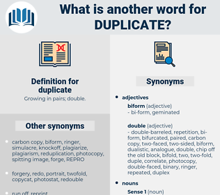 duplicate, synonym duplicate, another word for duplicate, words like duplicate, thesaurus duplicate