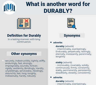 Durably, synonym Durably, another word for Durably, words like Durably, thesaurus Durably
