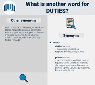Duties, synonym Duties, another word for Duties, words like Duties, thesaurus Duties