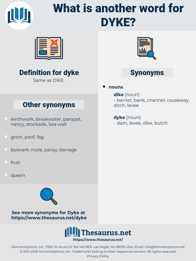 dyke, synonym dyke, another word for dyke, words like dyke, thesaurus dyke