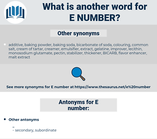 E number, synonym E number, another word for E number, words like E number, thesaurus E number