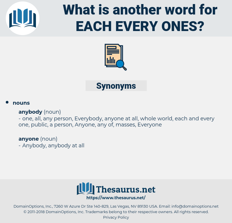 each every ones, synonym each every ones, another word for each every ones, words like each every ones, thesaurus each every ones