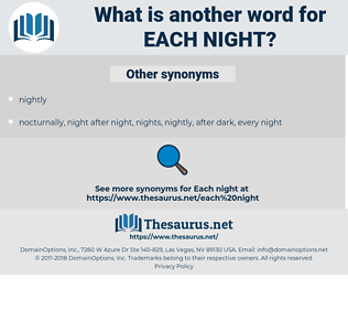 each night, synonym each night, another word for each night, words like each night, thesaurus each night