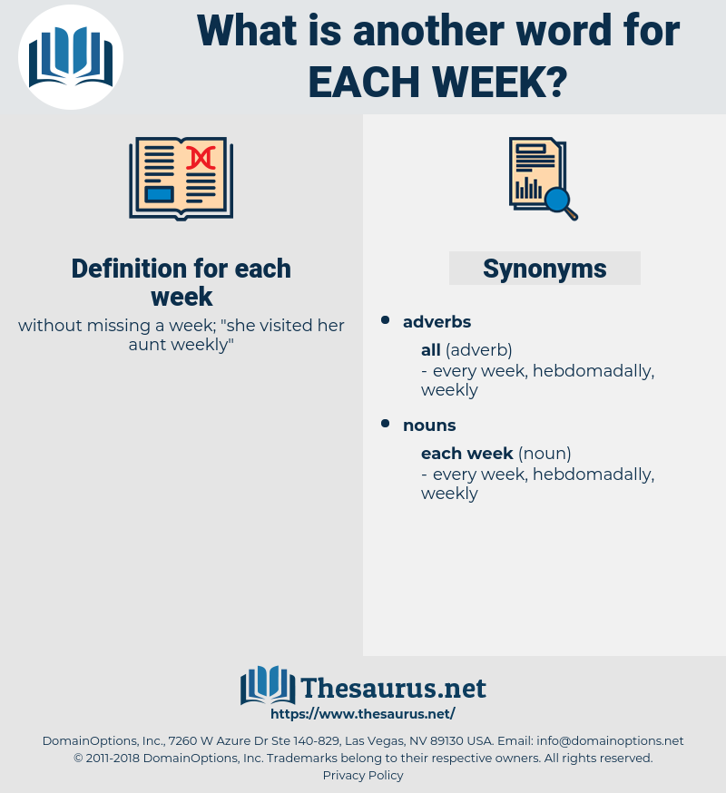 each week, synonym each week, another word for each week, words like each week, thesaurus each week