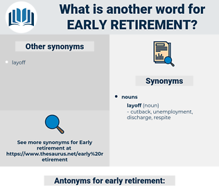 early retirement, synonym early retirement, another word for early retirement, words like early retirement, thesaurus early retirement