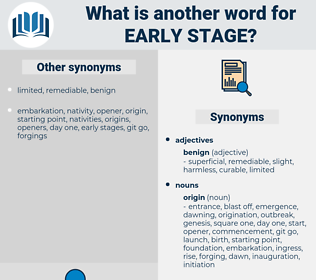 early stage, synonym early stage, another word for early stage, words like early stage, thesaurus early stage