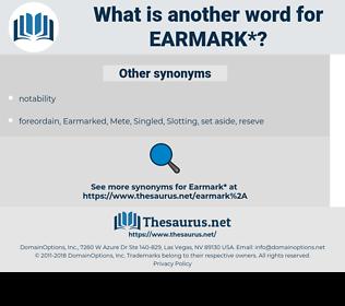 earmark, synonym earmark, another word for earmark, words like earmark, thesaurus earmark