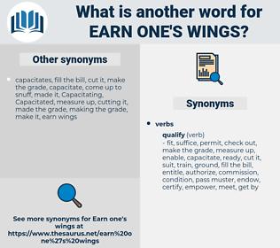 earn one's wings, synonym earn one's wings, another word for earn one's wings, words like earn one's wings, thesaurus earn one's wings