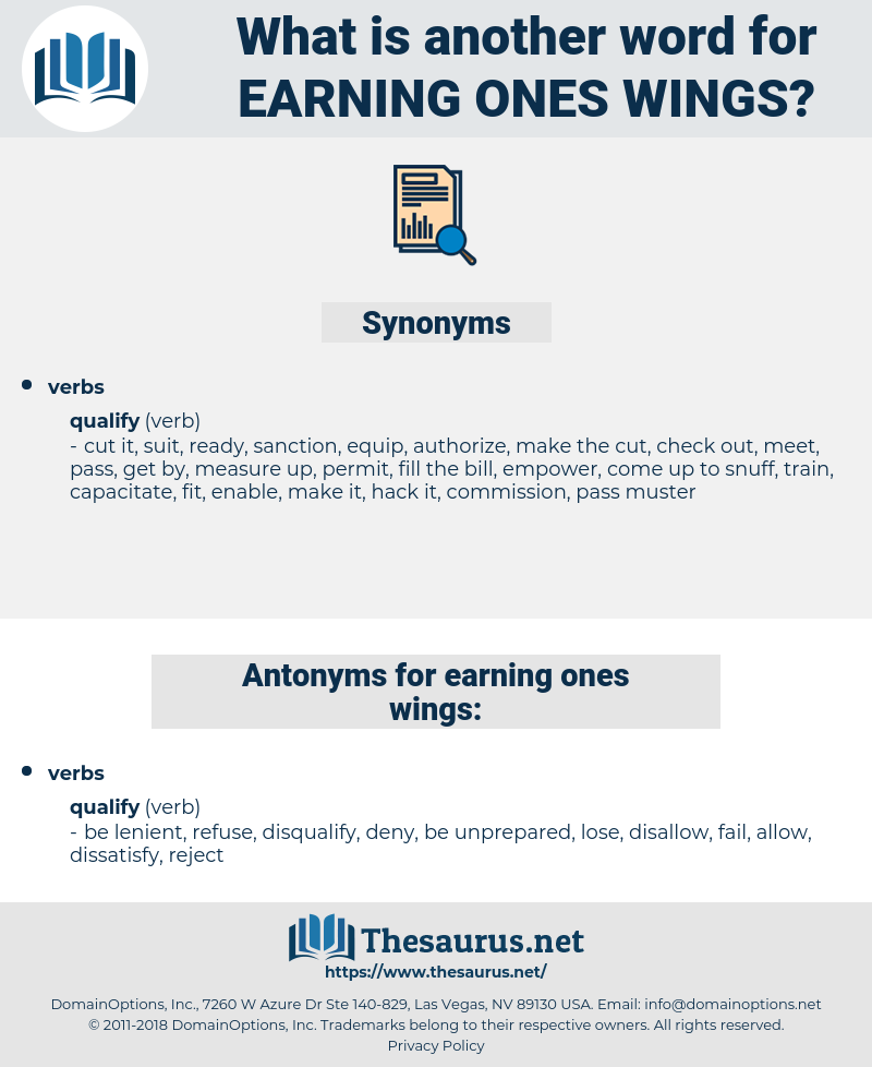 earning ones wings, synonym earning ones wings, another word for earning ones wings, words like earning ones wings, thesaurus earning ones wings