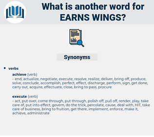 earns wings, synonym earns wings, another word for earns wings, words like earns wings, thesaurus earns wings