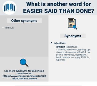 easier said than done, synonym easier said than done, another word for easier said than done, words like easier said than done, thesaurus easier said than done