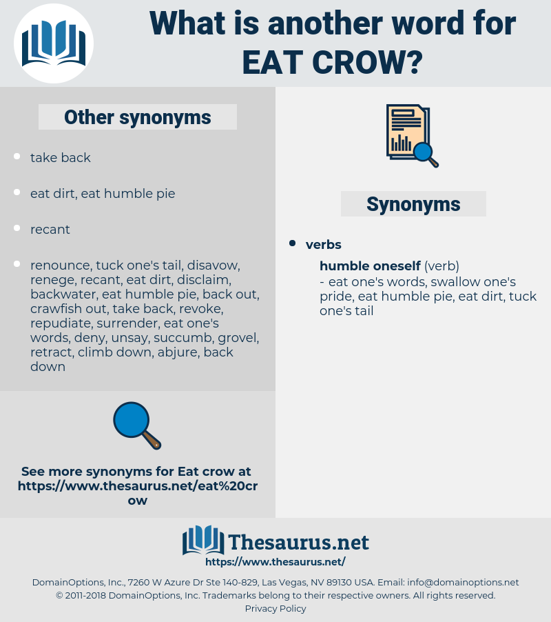 eat crow, synonym eat crow, another word for eat crow, words like eat crow, thesaurus eat crow