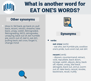 eat one's words, synonym eat one's words, another word for eat one's words, words like eat one's words, thesaurus eat one's words