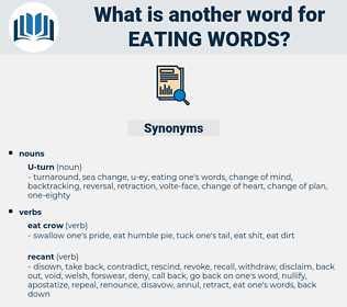 eating words, synonym eating words, another word for eating words, words like eating words, thesaurus eating words