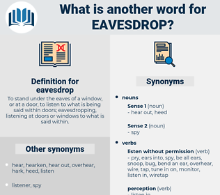 eavesdrop, synonym eavesdrop, another word for eavesdrop, words like eavesdrop, thesaurus eavesdrop