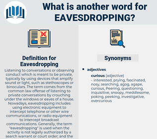Eavesdropping, synonym Eavesdropping, another word for Eavesdropping, words like Eavesdropping, thesaurus Eavesdropping