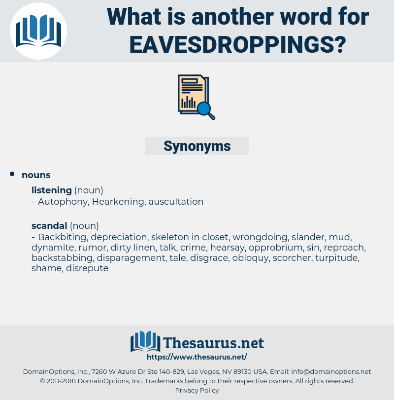 eavesdroppings, synonym eavesdroppings, another word for eavesdroppings, words like eavesdroppings, thesaurus eavesdroppings