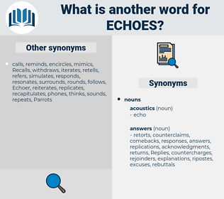 echoes, synonym echoes, another word for echoes, words like echoes, thesaurus echoes