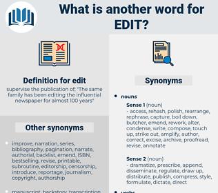 edit, synonym edit, another word for edit, words like edit, thesaurus edit