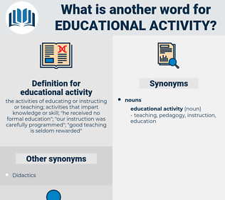 educational activity, synonym educational activity, another word for educational activity, words like educational activity, thesaurus educational activity