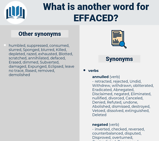 Effaced, synonym Effaced, another word for Effaced, words like Effaced, thesaurus Effaced