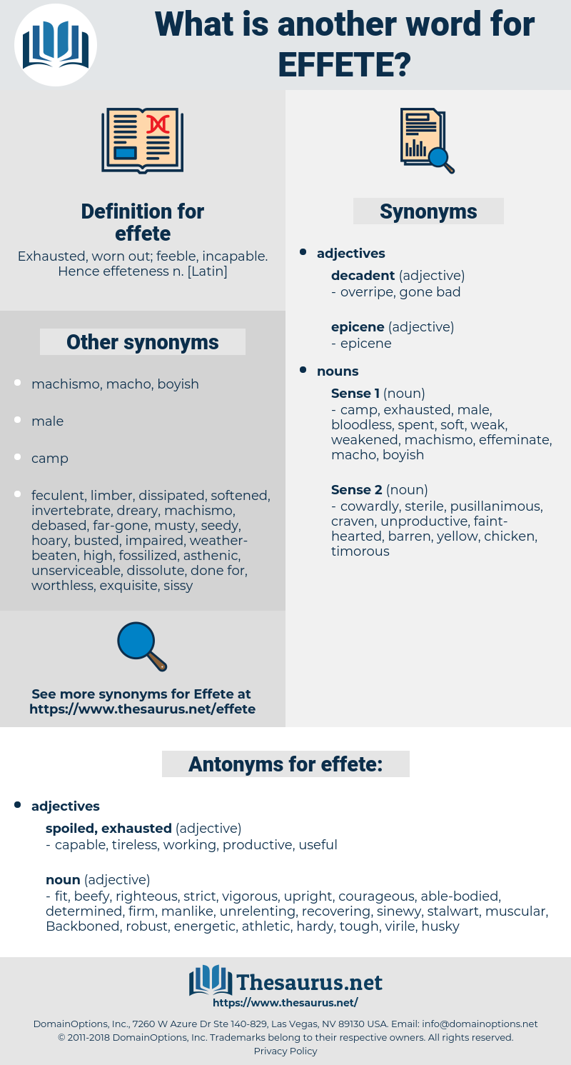 effete, synonym effete, another word for effete, words like effete, thesaurus effete
