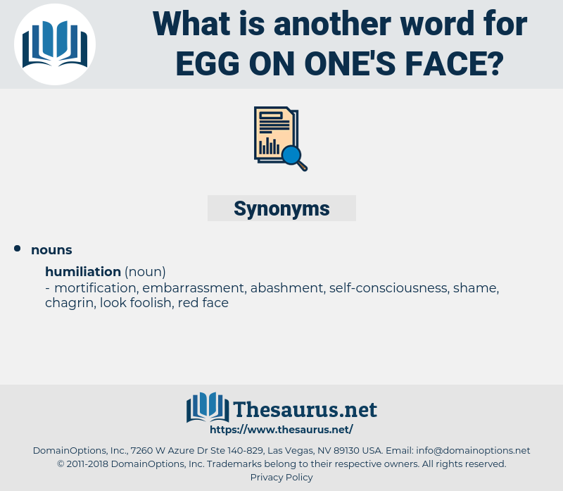 egg on one's face, synonym egg on one's face, another word for egg on one's face, words like egg on one's face, thesaurus egg on one's face