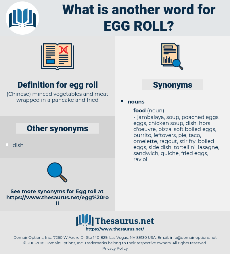 egg roll, synonym egg roll, another word for egg roll, words like egg roll, thesaurus egg roll