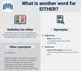either, synonym either, another word for either, words like either, thesaurus either