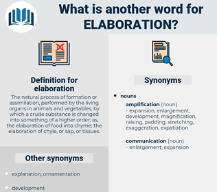 elaboration, synonym elaboration, another word for elaboration, words like elaboration, thesaurus elaboration