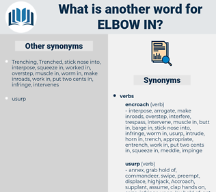 elbow in, synonym elbow in, another word for elbow in, words like elbow in, thesaurus elbow in