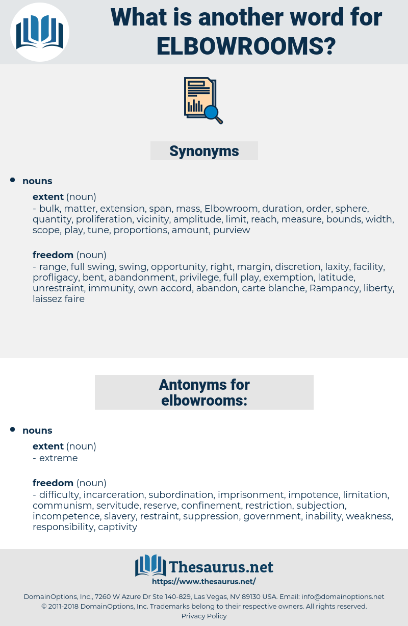 elbowrooms, synonym elbowrooms, another word for elbowrooms, words like elbowrooms, thesaurus elbowrooms