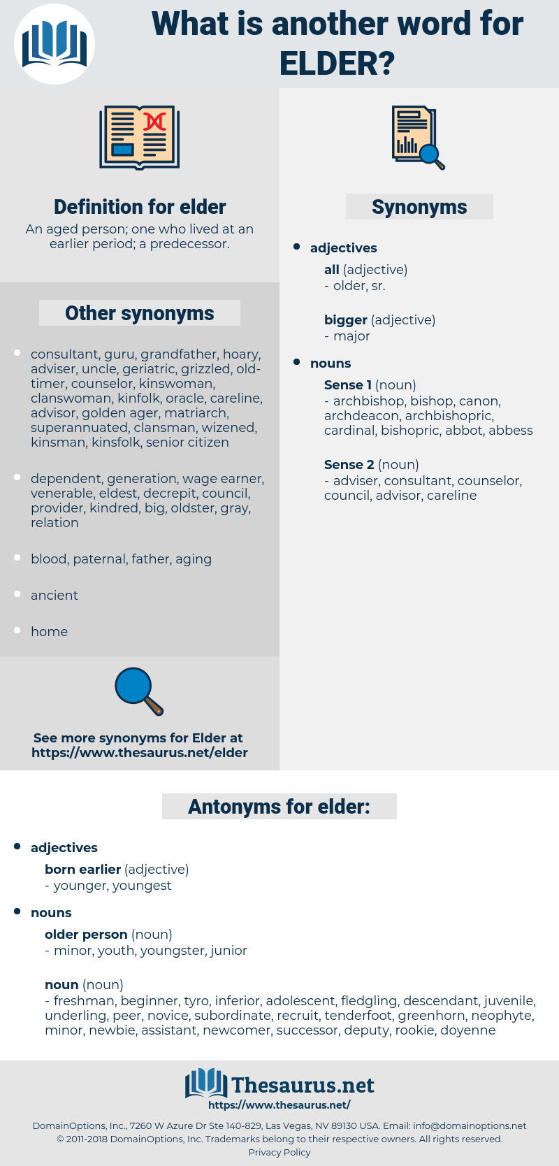 elder, synonym elder, another word for elder, words like elder, thesaurus elder