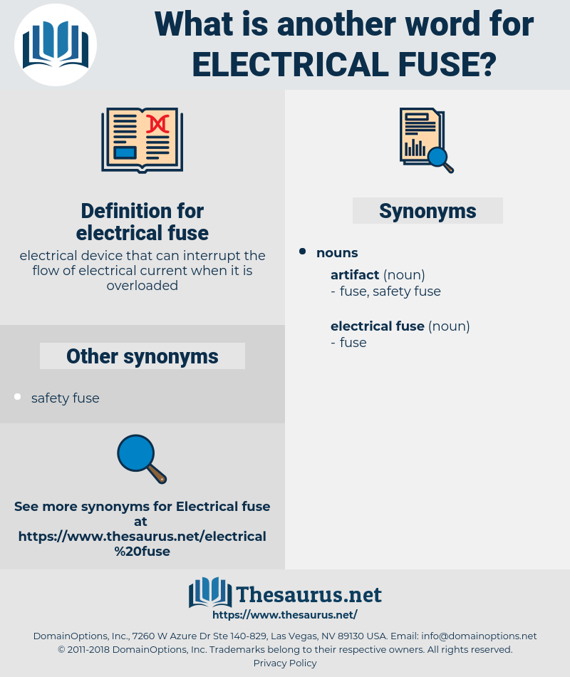 electrical fuse, synonym electrical fuse, another word for electrical fuse, words like electrical fuse, thesaurus electrical fuse