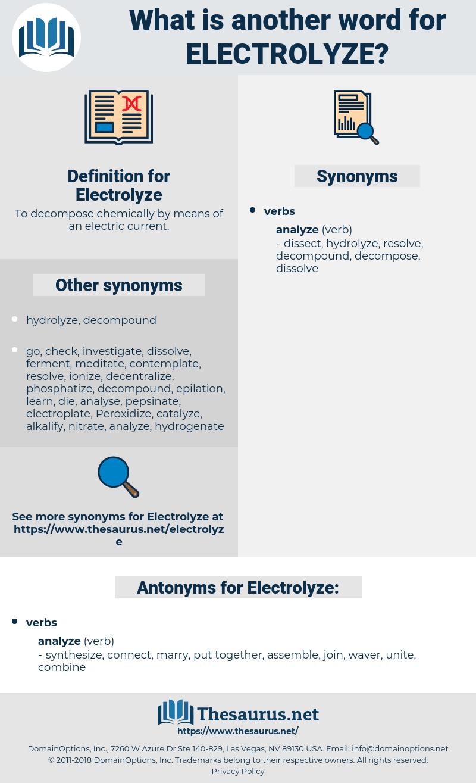 Electrolyze, synonym Electrolyze, another word for Electrolyze, words like Electrolyze, thesaurus Electrolyze