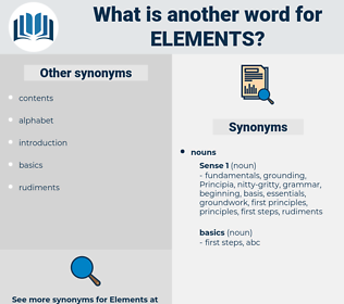 elements, synonym elements, another word for elements, words like elements, thesaurus elements